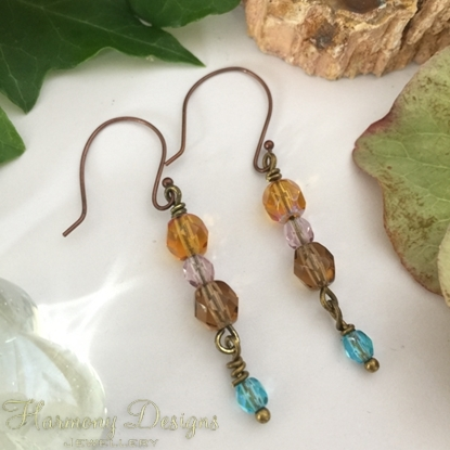 Picture of Shimmering And Delicate  - Multi Colour - Czech Fired Faceted polished Glass -  Oxidized Antique Bronze - Earrings (E79)