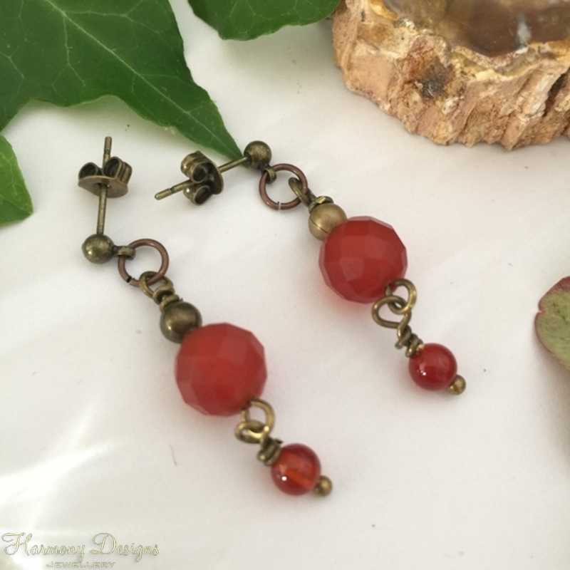 Picture of Eye-catching Dangle Movement  - Artisan  -  Antique Feel  -  Red And Orange  Agate - Antique Oxidized Bronze - Earrings(E69)