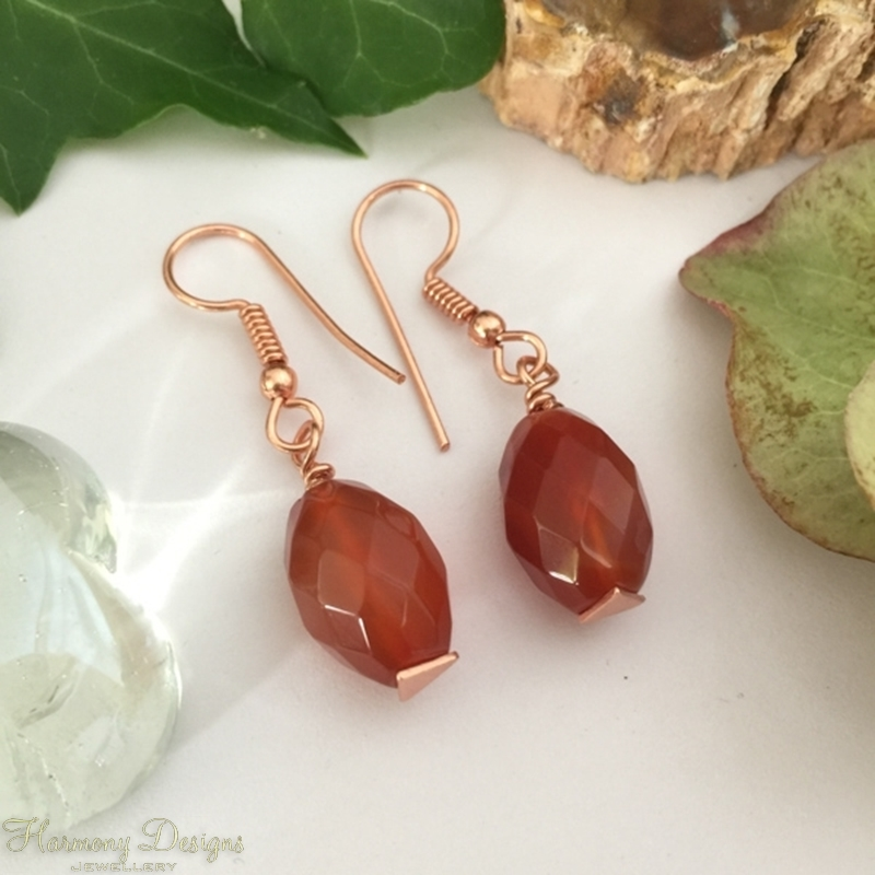 Picture of Limited Stock - Classy - Simply Elegant -  Red/Orange Agate Faceted Beads - Rose Gold Plated- Earrings  (E70)