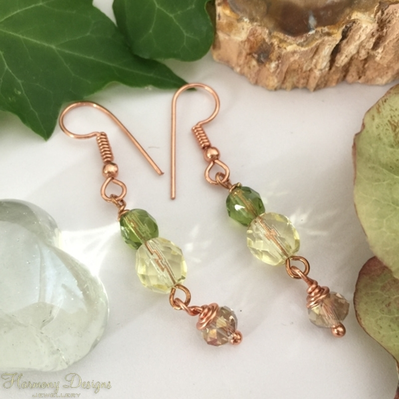 Picture of Fresh and Dazzling - Multi Toned Greens - Longer Length - Czech Fired Faceted Polished Glass And Crystal- Rose Gold Plated- Earrings (E80)