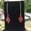 Picture of Radiant - Longer Length - Fashionable - Marquise Shaped Ear Wire Carnelian Marquise - Rose Gold Plated - Earrings (E72)