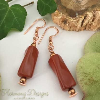 Picture of Limited Stock - Distinctive - Unusual Twisted Shape - Longer Length - Red Jasper Beads - Rose Gold Plated- Earrings (E73)