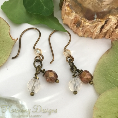 Picture of Dual Cluster Effect - Czech Fired Faceted Polished Glass - Hand Forged Components - Antique And Oxidized Antique Bronze - Earrings (E82)