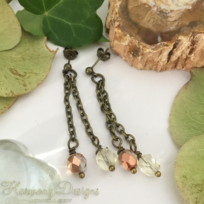 Picture of Elegant - Swag Drop Effect  - Czech Fired Faceted polished Glass - Oxidized Antique Bronze - Earrings (E83)