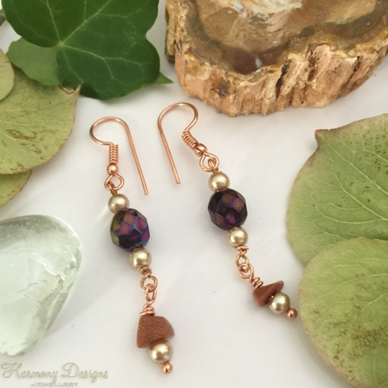 Picture of Classy - Whimsical - Longer Length - Czech Fired Faceted Glass - Goldstone - Shell Pearl -  Rose Gold Plated- Earrings (E87)