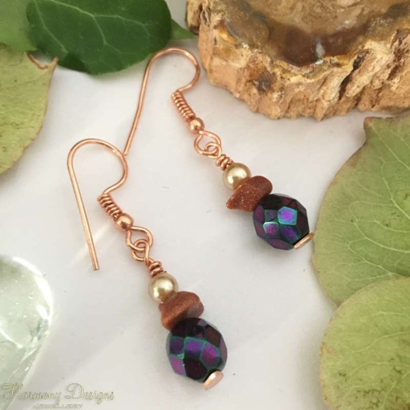 Picture of Distinguished - Quaint -  Czech Fired Faceted Glass - Goldstone - Shell Pearl -  Rose Gold Plated- Earrings (E88)