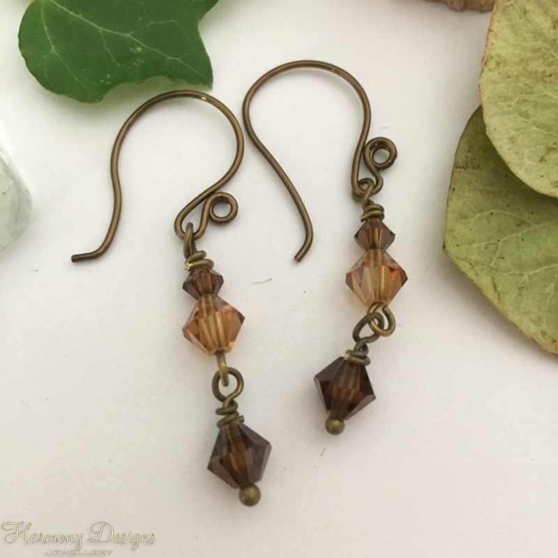 Picture of Adorably Vintage - Preciosa Crystal Beads   - Hand Forged Components - Antique And Oxidized Antique Bronze - Earrings (E85)