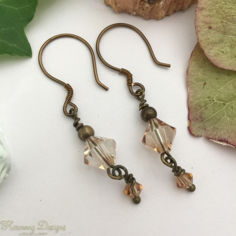 Picture of Prismatic - Vintage - Attractive - Preciosa Crystal Beads - Hand Forged Components - Antique And Oxidized Antique Bronze - Earrings (E86)