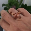 Picture of Delicately Intricate  -  Czech Fired Glass Crystal -  Wire Worked - Copper And Bronze -  Wire Weaving -  Expandable  - Dress Ring -(R14)