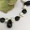 Picture of One Only  - 925 Sterling SILVER - Simple   Sophistication - Gemstone Abundant - White Freshwater Cultured Keshi Pearls - Black Agate  -  Necklace (N46)