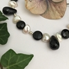 Picture of SOLD - One Only  - 925 Sterling SILVER - Simple   Sophistication - Gemstone Abundant - White Freshwater Cultured Keshi Pearls - Black Agate  -  Necklace - (N67)