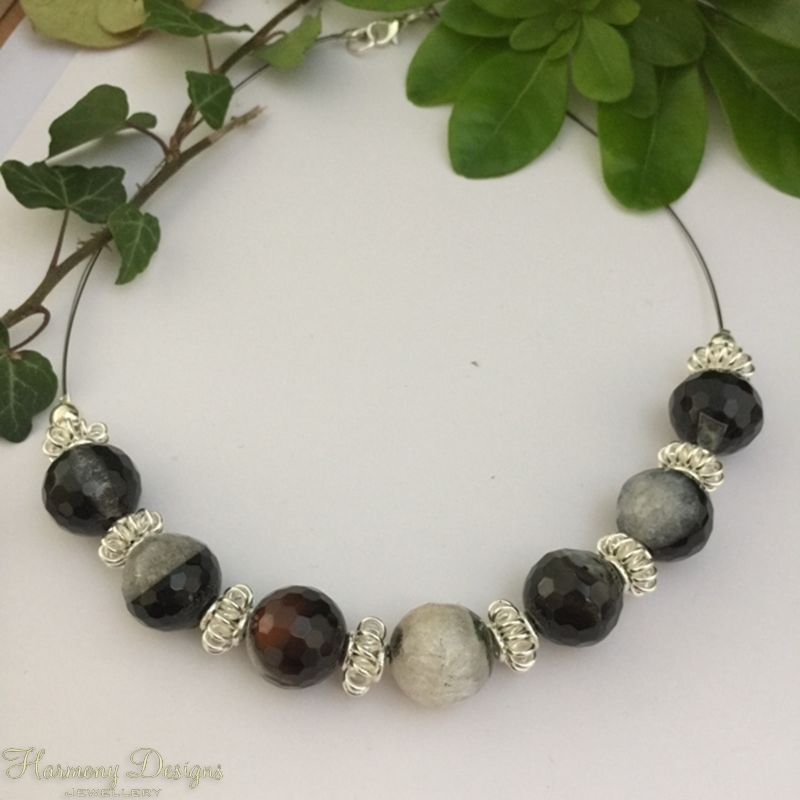 Picture of Unique - One Only - Ornate  - Crackled Black Agate with Clear Quartz - Silver plated -  Necklaces -  (N68)