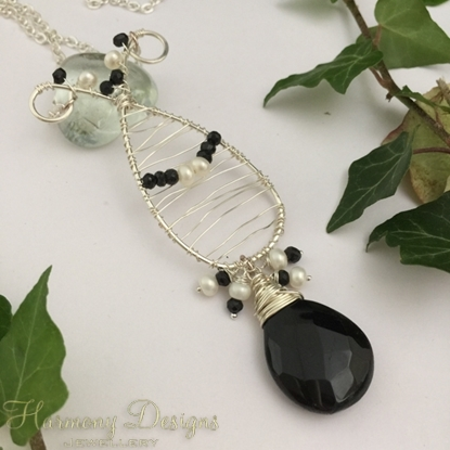 Picture of One Only - Whimsical Classy - Black Spinel  - White Freshwater Cultured Button Pearls - Very Dark Smoked Quartz - Hand Forged / Wire Worked - Silver Plated - Necklace - (N56)