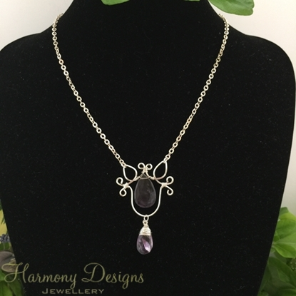 Picture of SOLD - One Only - 10% 925 Sterling Silver Plated  and 925 Sterling Silver -  Enchanting - Whimsical - Reflective - Ornate - Ametrine Faceted Pear - Wire Wrapped - Necklace - (N75)