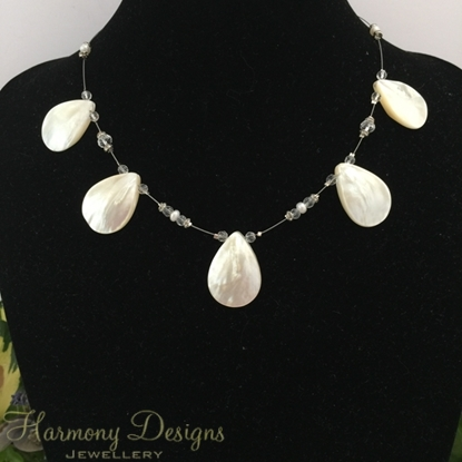 Picture of One  Only - Charming - Stricking - Shell Pear Shaped  - Cultured Freshwater Button Pearls -  Celebrity Crystals - Silver Plated - Necklace - (N57)