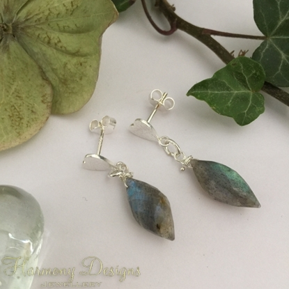 Picture of 925 Sterling Silver- One Only Limited Stock - Radiant Elegance - Labradorite  Faceted Bead -  Beautiful labradoresence - Heart Feature Earrings (E90)