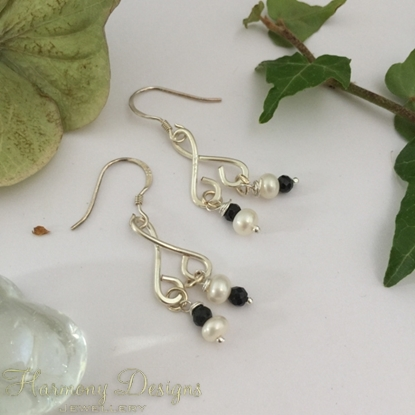 Picture of 925 Sterling  Hooks -  Whimsical Stylishness - Black Spinel - White Freshwater Cultured Button Pearls - Silver Plated -  Hand Forge  - Earrings (E98)