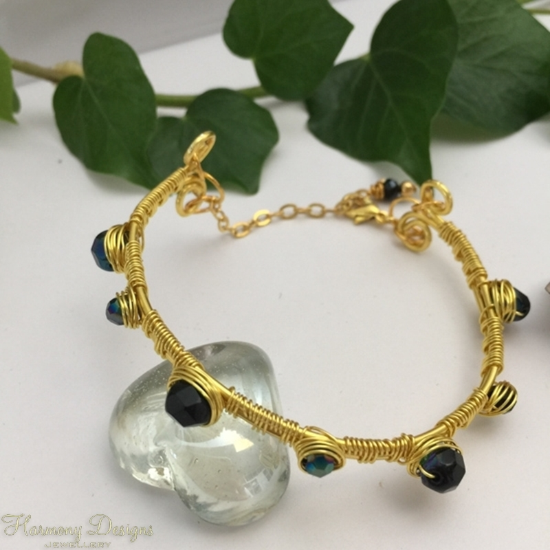 Picture of Expensive - looking - Wire work - Wire Weaving - Czech Fired Glass Crystal - Hematite - Gold Plated - Open Bangle Style Bracelet (B18)