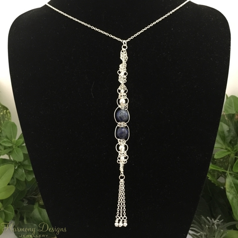 Picture of Intricate -  Ornately Distinctive   -  Lapis Lazuli -   Sliver Plated - Free Formed Wire Work - Necklace (N44)