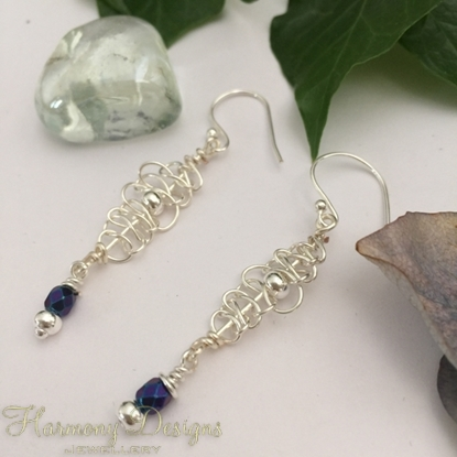 Picture of Distinguished  -  Attractive  - Intricate wire weaving - Czech fired faceted polished Beads  - Silver Plated - Earrings (E99)