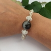 Picture of Unique - One Only - Crackled Black Agate with Clear Quartz - Silver plated- Wire work - Bracelet (B19)
