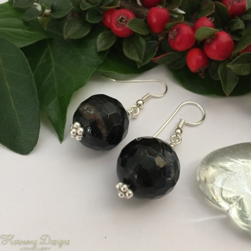 Picture of Chunky And Ornate -Crackled Black Agate with inclusions of Clear Quartz - Silver Plated - Earring (E100)