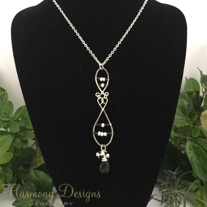 Picture of SOLD -One Only - Whimsical Stylishness  - Black Spinel  - White Freshwater Cultured Button Pearls - Very Dark Smoked Quartz - Hand Forged / Wire Worked - Silver Plated - Necklace - (N55)