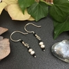 Picture of Elegant - Refined - Spinel - White Freshwater Cultured Button Pearls - Monochrome - Hand Forged - Silver Plated - Earrings  (E101)