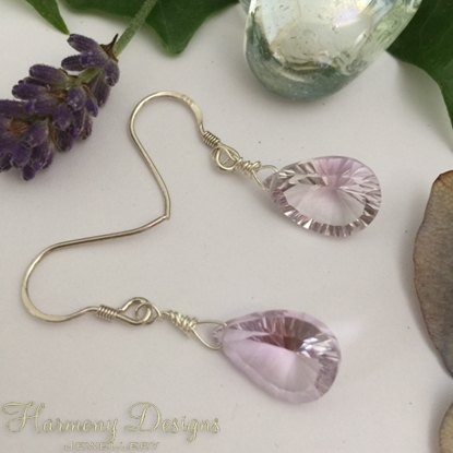 Picture of Contemporary  -  Exquisite Quality Amethyst - Concave Cut - 925 Sterling Sliver - Earrings - (E122)