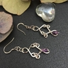 Picture of 925 Sterling  Hooks - Amethyst - Enchanting - Distinctive -  10% Sliver Plate - Square Wire - Hand Forged Filigree - Earrings (E102)