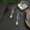 Picture of Beautiful  -  Crystal - Shimmering - Radiant - White Freshwater Cultured Button Pearls - Silver Plated -  Earrings  -  (E102)