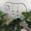 Picture of One Only - 925 Sterling  Silver -  Dainty - Fluorite Faceted Prisms -  Fluorite Plain Rounds - Earring (E1)