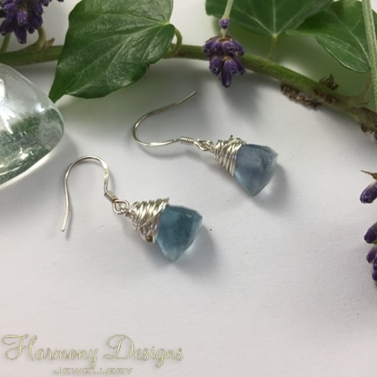 Picture of SOLD - One Only  - 925 Sterling  Silver -  Dainty - Fluorite Faceted Prisms -  Fluorite Plain Rounds - Earring (E2)