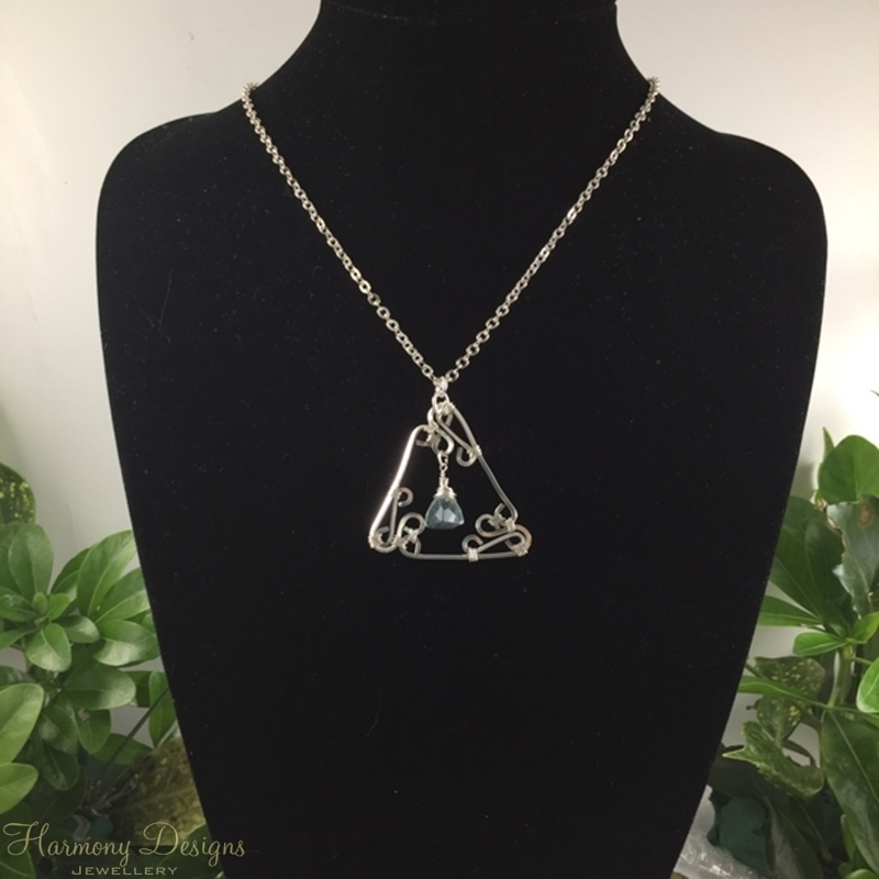 Picture of One Only  -  Distinguished - Ornate Filigree  -  Fluorite Faceted Prisms - 10 %  Silver  Plated - Necklace -  (N60)