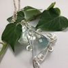 Picture of One Only  -  Distinguished - Ornate Filigree  -  Fluorite Faceted Prisms - 10 %  Silver  Plated - Necklace -  (N61)