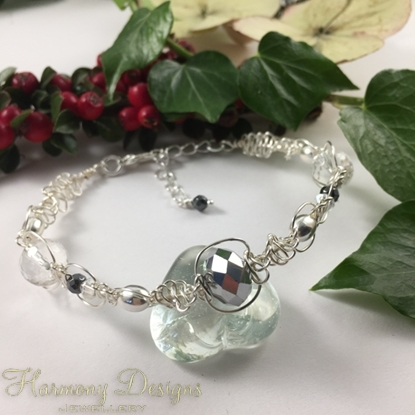 Picture of Delicate - Haematite - Clear Quartz  - Czech Fired Glass Crystal -  Preciosa Crystal - Celebrity Crystals - Wire Worked - Sliver Plated Bracelet (B22)