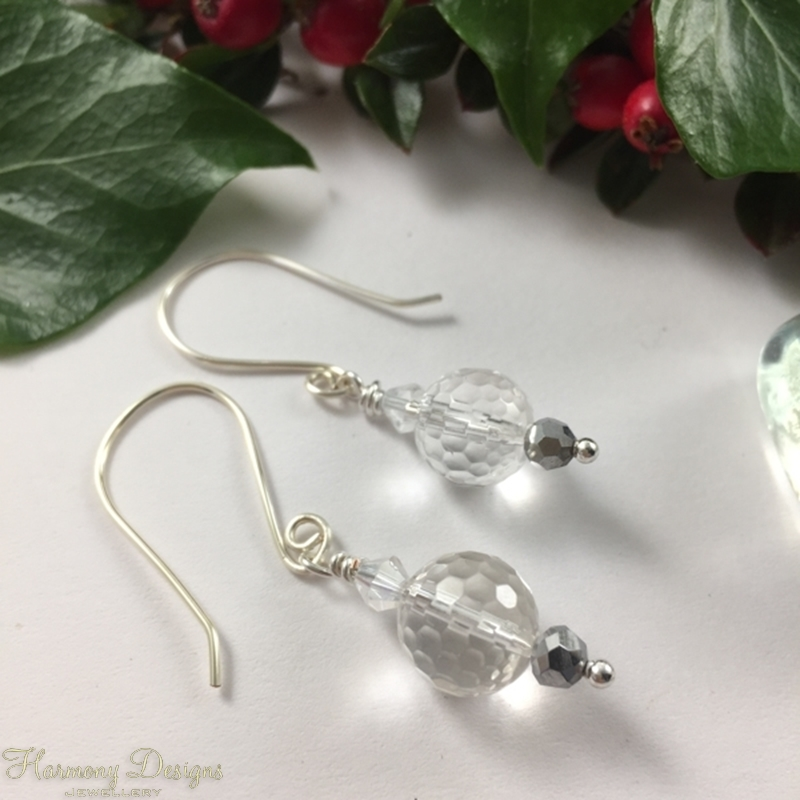 Picture of Limited Stock - Clear Quartz Faceted - Haematite - Preciosa Crystals - Ornate -  Beautifully Reflective  - Silver Plated - Earrings (E17)