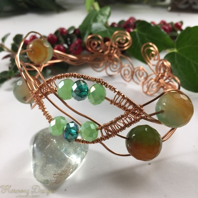 Picture of SOLD - One Only - Unique  Cuff  -  Agate  -  Greenish Red-Orange  -  Celebrity Crystal  - Copper -  Wire Work - Wire Weaving - Cuff Bracelet (B23)