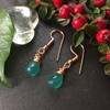 Picture of Vibrant - Outstanding and Dainty - Green Onyx Faceted Drops - Rose Gold Plated- Earrings (E104)