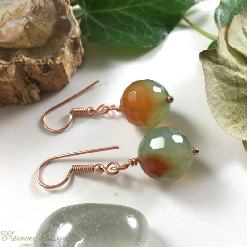 Picture of SOLD (E109) Agate  -  Greenish Red-Orange - Rose Gold Plated - Earrings
