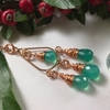 Picture of Limited Stock - Fancy Chandelier Style - Dainty Vibrant  - Rose Gold Plated - Copper - Onyx - Wire Wrapped (N14)