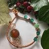 Picture of Limited  - Unique Statement Piece  -  Agate  -  Greenish Red-Orange  -  Celebrity Crystal  - Copper - Rose Gold -  Wire Work / Wrapping  - Necklace - (N15)