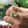 Picture of Attractive - Stylish -  Czech Fired Faceted Polished Glass - Hand Forged - Wire Wrapping  - Copper - Ring - (R29)