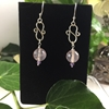 Picture of Limited Stock -  Captivating - Ornate - Beautifully Reflective - Rose Quartz Faceted - Amethyst  -Silver Plated - Hand Forged - Earrings (E106)