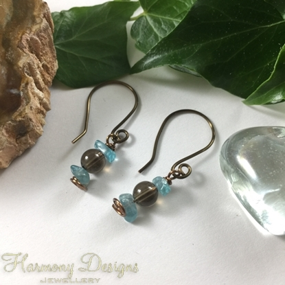 Picture of Attractively Balanced -  Apatite And Smokey Quartz - Hand Forged Components - Antique Bronze - Earrings (E107)