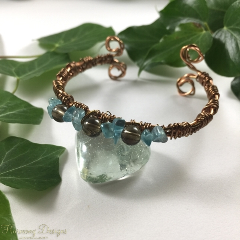Picture of Celtic Feel - Apatite And Smokey Quartz -  Wire Weaving -  Copper  And  Bronze Wire  - Open Bangle Style Bracelet (B29)