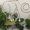 Picture of One Only - Fancy Chandelier Style  - Longer Length - Labradorite  -  White Round Shell Pearls -  Haematite  - Silver Plated Earrings  (E109)