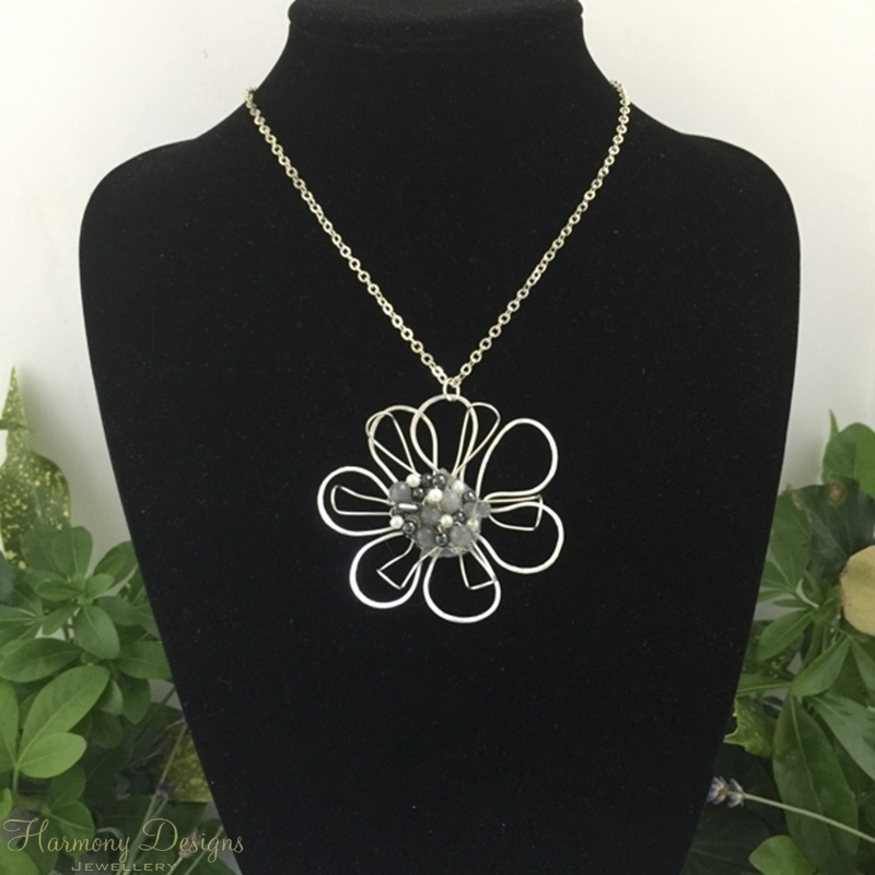 Picture of Enchanting  - Flower  Inspired - Labradorite  -  White Round Shell Pearls -  Haematite  - Hand Forged - Wire Worked - Silver Plated  - Necklace - (N62)