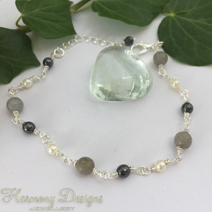 Picture of One Only - Dainty  - Labradorite  -  White Round Shell Pearls -  Haematite  - Silver Plated - Rosary Link  Wire Work - Bracelet (B25)