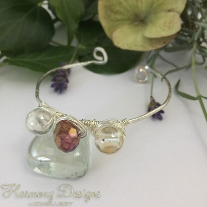 Picture of Dainty  -  Mystic Light Citrine - AB Celebrity Glass Beads - Wire Work - Silver Plated  - Hand Forged Textured Hammed - Open Bangle Style Bracelet (B26)